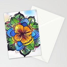 poppy blossom mandala Stationery Cards