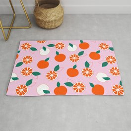 Fresh Orange Pattern on Rose Colored background  Rug