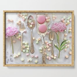 Shabby Chic Peonies Macarons and Vintage Spoon Kitchen Art Serving Tray