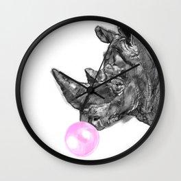 Bubble Gum Rhinoceros Black and White Wall Clock