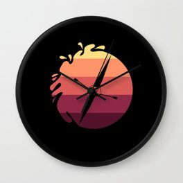 Rowing Retro Rowers In Sunset Wall Clock
