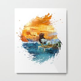 A Kind fisherman puts fish back on White Metal Print
