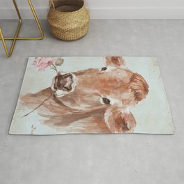 Cow with Rose by Debi Coules Rug