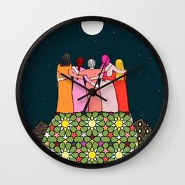 Sisterhood under the full moon Wall Clock