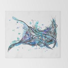 Inked Manta Ray Throw Blanket