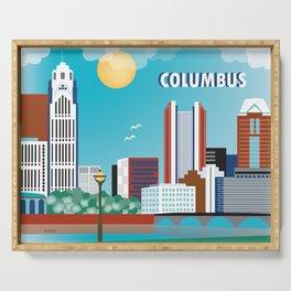 Columbus, Ohio - Skyline Illustration by Loose Petals Serving Tray