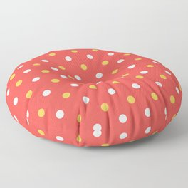 white orange dots pattern Floor Pillow