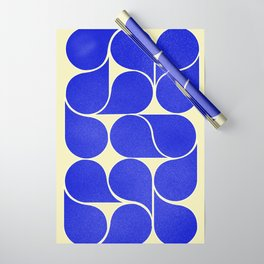 Blue mid-century shapes no8 Wrapping Paper