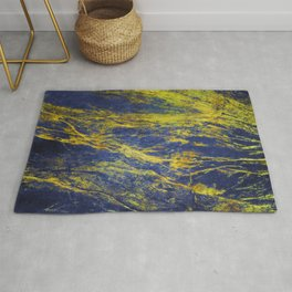 Classic Vintage Blue Faux Marble With Gold Veins Rug