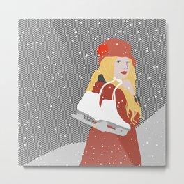 Winter Snow Ice Skater (flat graphics) Metal Print