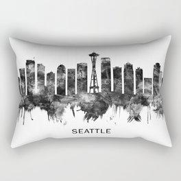 Seattle Washington Skyline BW Rectangular Pillow