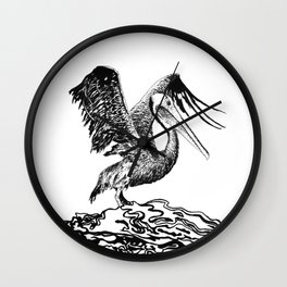 A Gorgeous Pelican Shows Off Its Wings Wall Clock