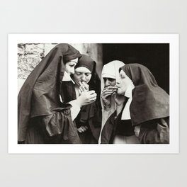 Nuns Smoking Art Print