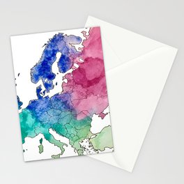 Colorful Watercolor Map of Europe Stationery Cards