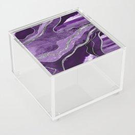 Purple Marble Agate Silver Glitter Glam #1 (Faux Glitter) #decor #art #society6 Acrylic Box
