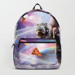 Laser Eyes Space Cat On Llama Dinosaur - Rainbow Backpack