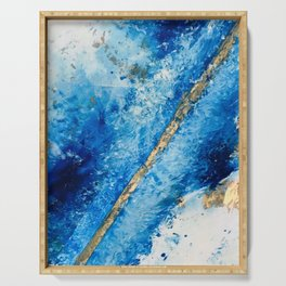 Blue Skies [2]: a pretty, abstract mixed-media piece in blue, gold and white Serving Tray