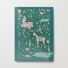 Wild Zebras in Green Garden Metal Print