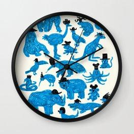 Blue Animals Black Hats Wall Clock