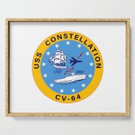 USS Constellation CV-64 Aircraft Carrier Insignia Serving Tray