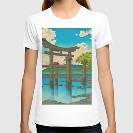 Vintage Japanese Woodblock Print Torii In Water Sacred Shinto Shrine T-shirt