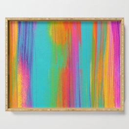 Rainbow Abstract Iridescent Painting V3 Serving Tray