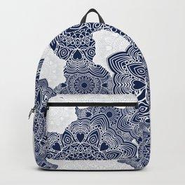 Blue and white mandala background Backpack