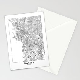Manila White Map Stationery Cards