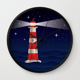 Cartoon landscape with lighthouse night sea and starry sky Wall Clock