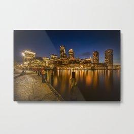BOSTON Fan Pier Park & Skyline in the evening Metal Print