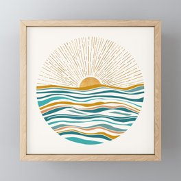 The Sun and The Sea - Gold and Teal Framed Mini Art Print