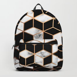 Marble Cubes With Gold Geometric Lines Backpack