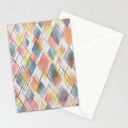 Watercolour Diamonds // Geometric diamond shapes in watercolour with rose gold metallics Stationery Cards