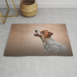 Jack Russell Terrier. Drawing, illustration funny dog Rug