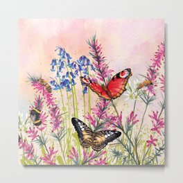 Wild meadow butterflies Metal Print