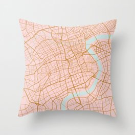Shanghai map, China Throw Pillow