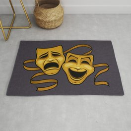 Gold Comedy And Tragedy Theater Masks Rug