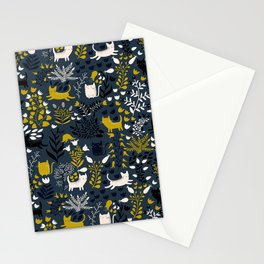 Cats and Flowers Pattern Stationery Cards
