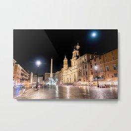 Piazza Navona at night under full moon - Rome, Italy Metal Print