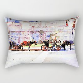 Roma: horse-drawn carriages stopped under the altar of the fatherland Rectangular Pillow