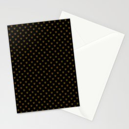 Small Bright Gold Metallic Foil Bees on Black Stationery Cards