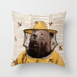 Bear print, Beekeeper Print, Brown bear Art Print, Bear wall art, Beekeeper, vintage dictionary page Throw Pillow
