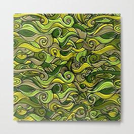 Snakes green plants plant pattern Metal Print