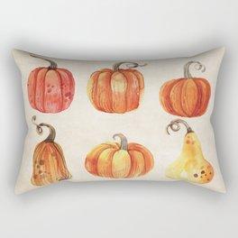 Autumn Gourds - Pumpkin Watercolor on Antique White Rectangular Pillow