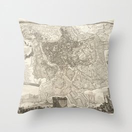Vintage Map Print - 1748 map of Rome Throw Pillow