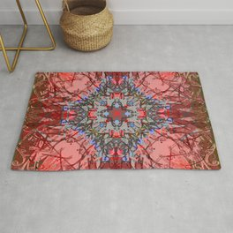 Ornate Red and Blue Mandala Magic Carpet Rug