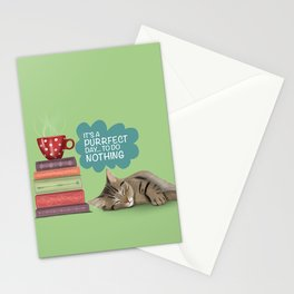Lazy Cat - Green  Stationery Cards