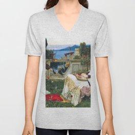 John William Waterhouse - Saint Cecilia - Digital Remastered Edition Unisex V-Neck