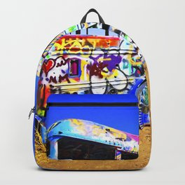 Colorful pop art graffiti painted magical old school bus Backpack