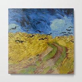 Fun Neck Gaiter Vincent Van Gogh Wheatfield With Crows Neck Gator Metal Print